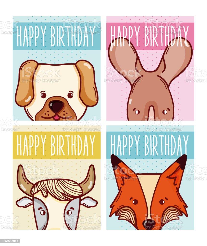 Alles Gute Zum Geburtstag Tiere Karten Stock Vektor Art Und Mehr