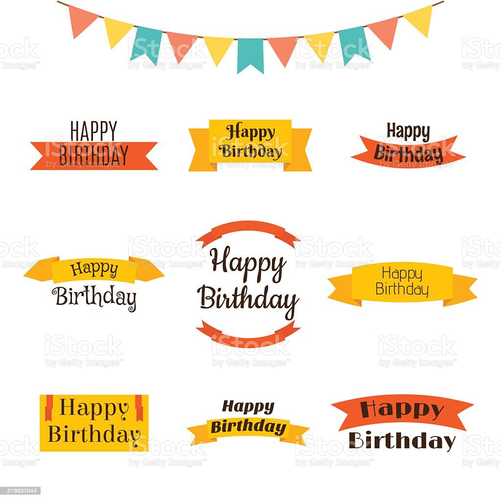 Set of happy birthday greeting cards birthday theme labels stok set of happy birthday greeting cards birthday theme labels royalty free stok vektr sanat m4hsunfo
