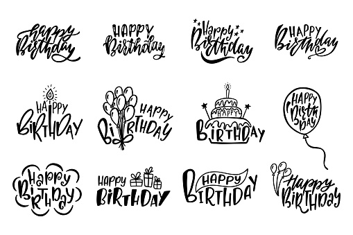 Set of Happy Birthday hand drawn typography designs. Handwritten lettering. Anniversary vector greeting cards.