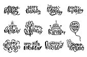 Set of Happy Birthday hand drawn typography designs. Handwritten lettering. Anniversary vector greeting cards. Ink, pen calligraphy. Postcard clipart. Congratulation. Party, event celebration.