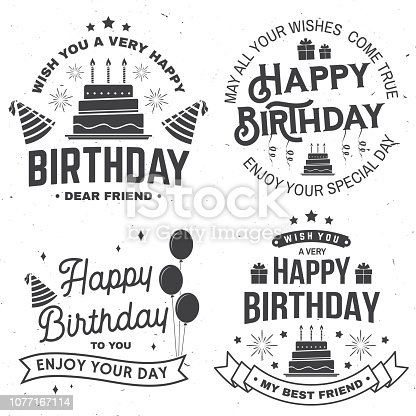 Set of Happy Birthday templates for overlay, badge, sticker, card with bunch of balloons, gifts, serpentine, hat and birthday cake with candles. Vector. Vintage design for birthday celebration