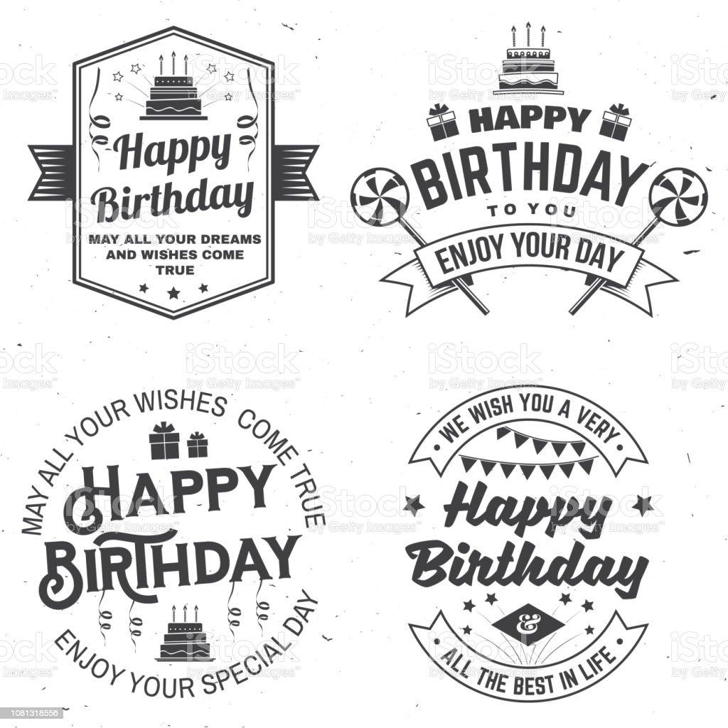 Reihe Von Happy Birthday Vorlagen Für Abzeichen Aufkleber Karte Mit