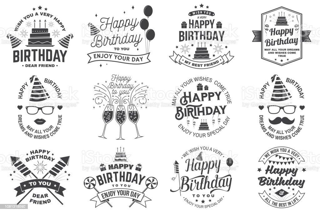 Reihe Von Happy Birthday Vorlagen Für Overlay Abzeichen Karte Mit