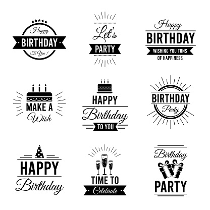 Set of happy birthday typography for greeting card, invitation cards, banners. Vol.4