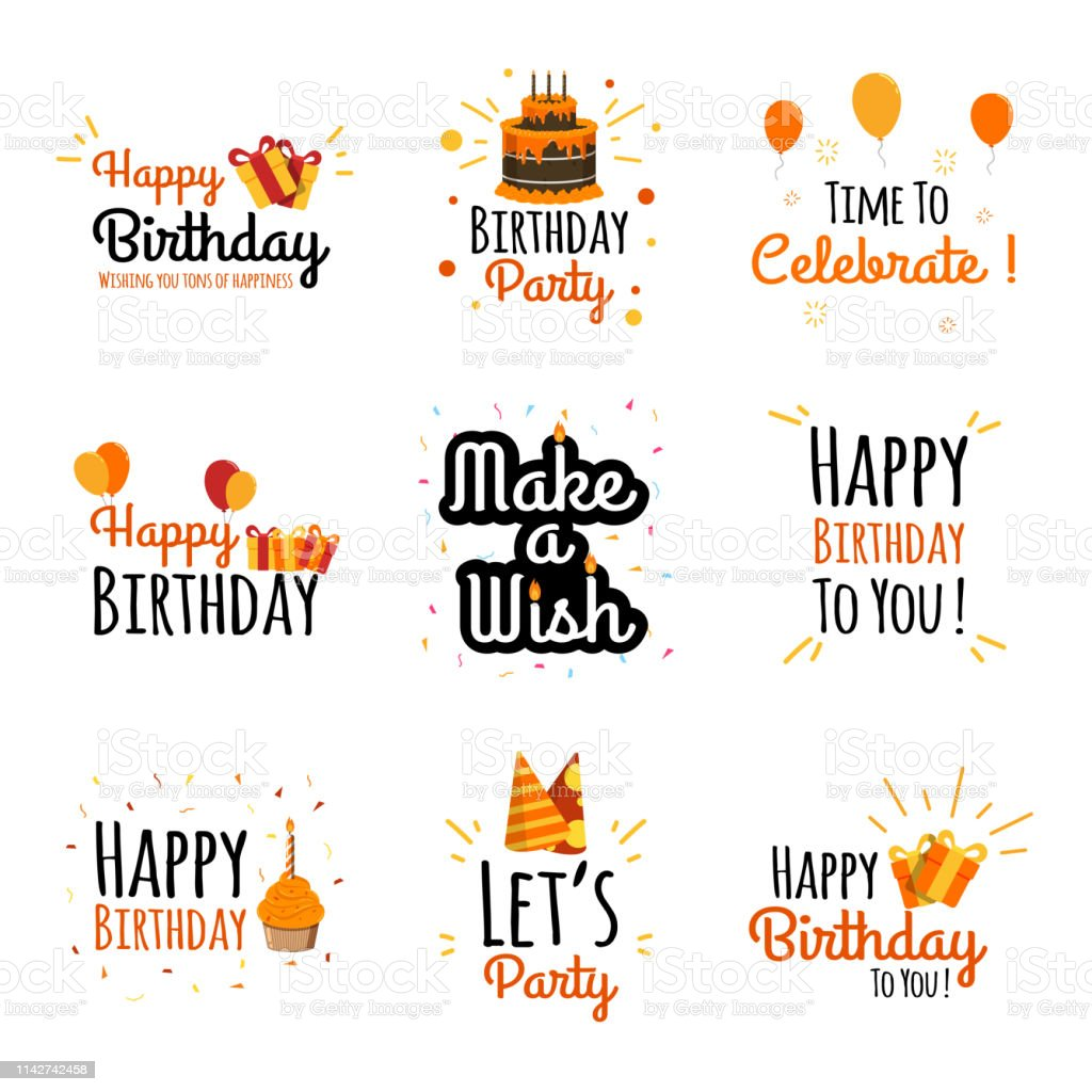 Set Of Happy Birthday Typography For Greeting Card