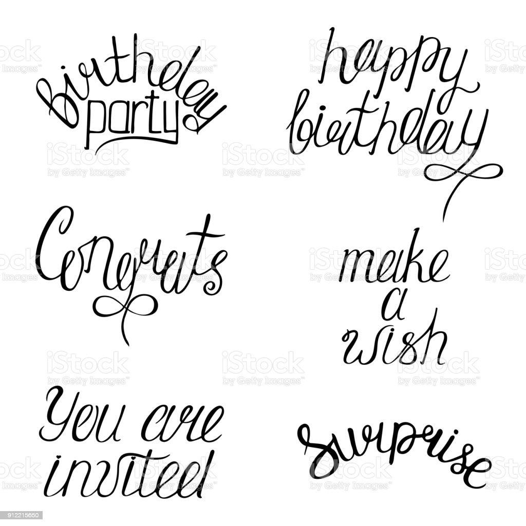Ilustración De Conjunto De Frases De Feliz Cumpleaños