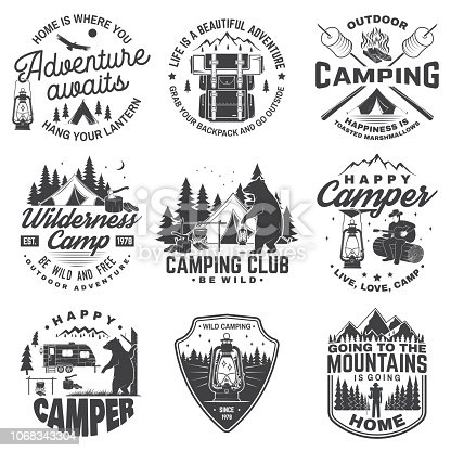 Set of Happy camper outdoor adventure symbol. Vector. Concept for shirt or , print, stamp or tee. Vintage design with lantern, camping tent, campfire, bear, man with guitar and forest silhouette.