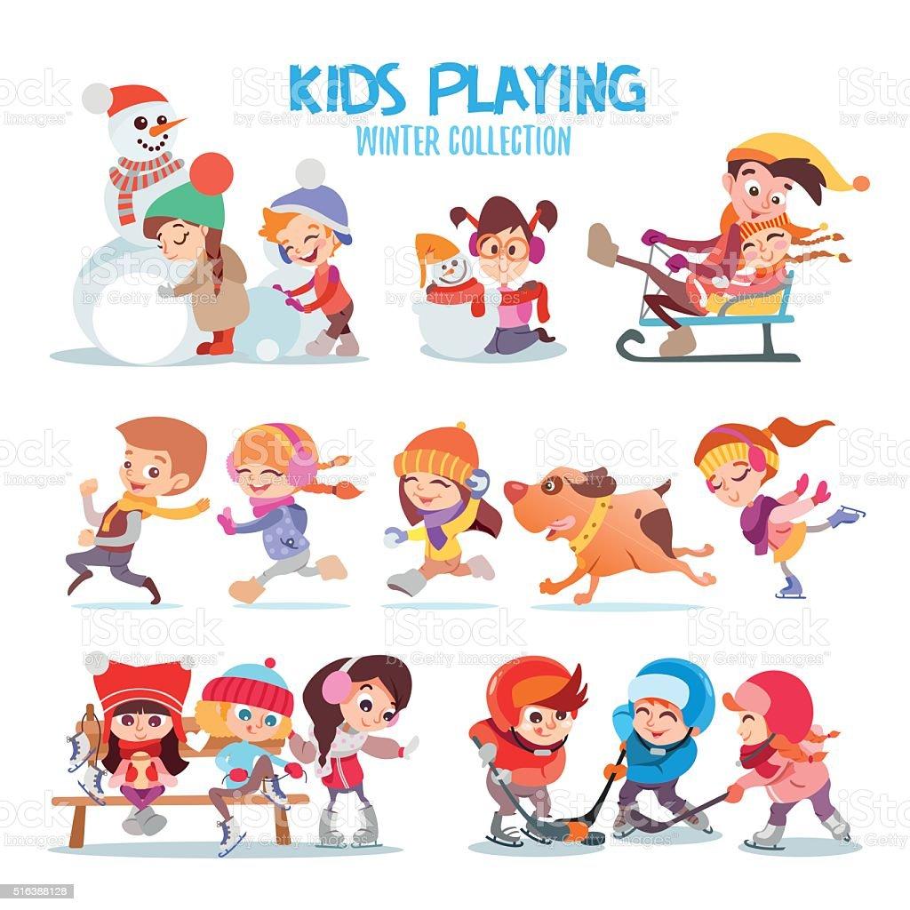 Ein Satz Von Glücklich Cartoon Kinder Spielen Im Freien Im Winter ...