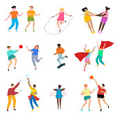 Collection set of cute children performing different types of sport and game activities volleyball, skipping rope, skateboarding, twisting hoop, basketball . Colorful vector isolated icons set.