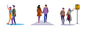 Set of happy couple going out together. Flat vector illustrations of people ordering taxi on street. Dating, stroll, public transport concept for banner, website design or landing web page