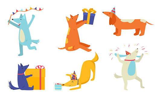 Set of happy dogs celebrating birthday and holding present boxes vector illustration