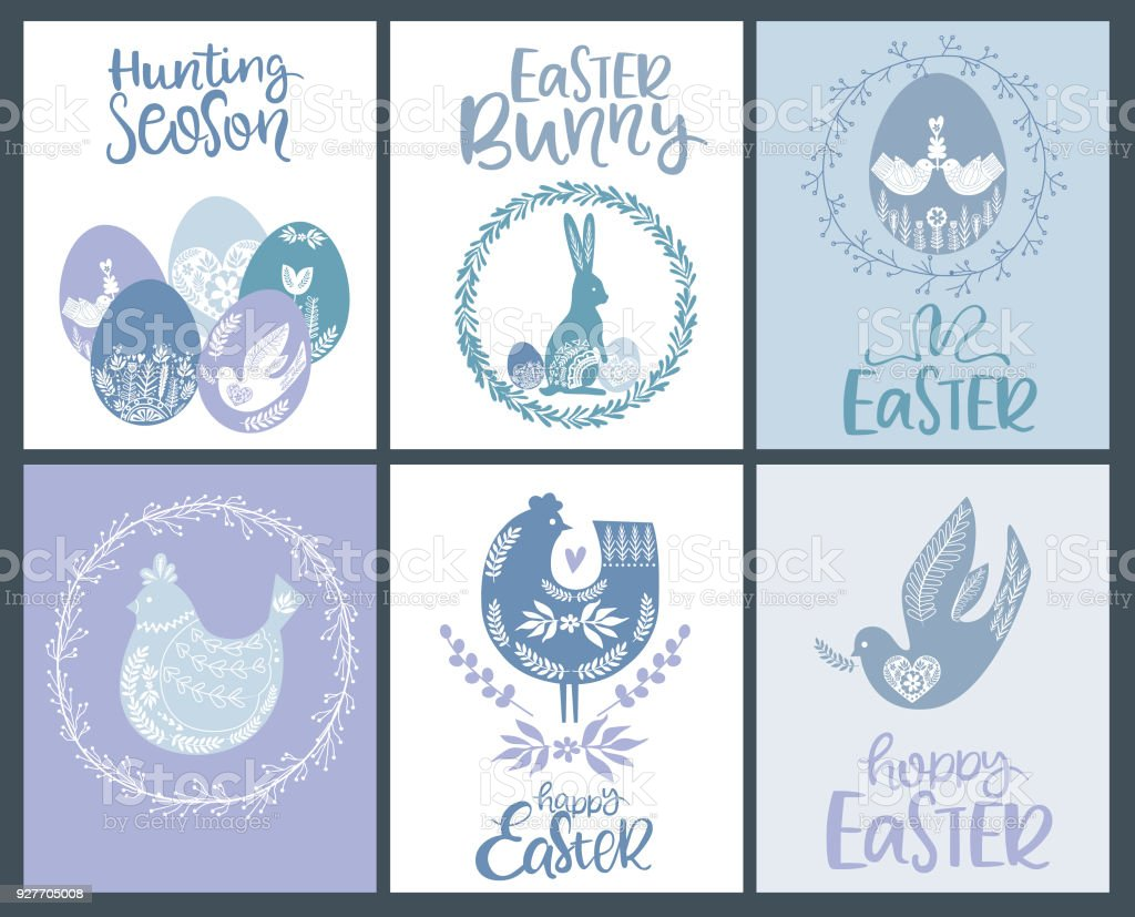 Set Of Happy Easter Greeting Cards Posters In Scandinavian Style