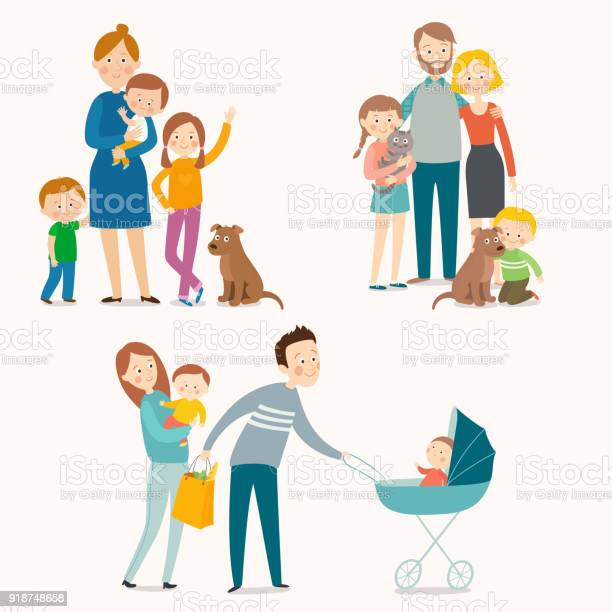 Set of happy families with kids and pets vector id918748658?b=1&k=6&m=918748658&s=612x612&h=wdelkaicpcu2erxpac6hh rly7uujvkidpj7fcfw474=