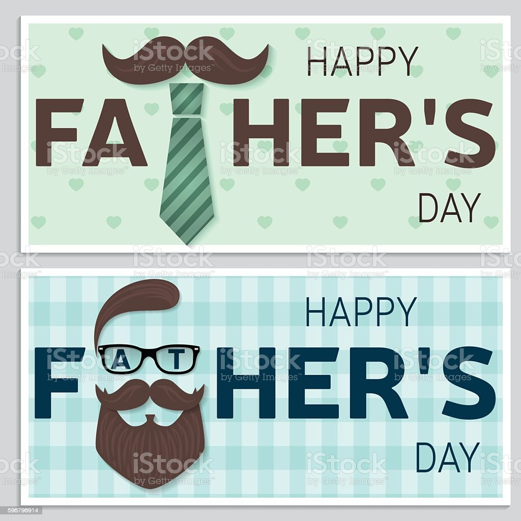 Set of Happy Father's Day greeting cards. vector art illustration
