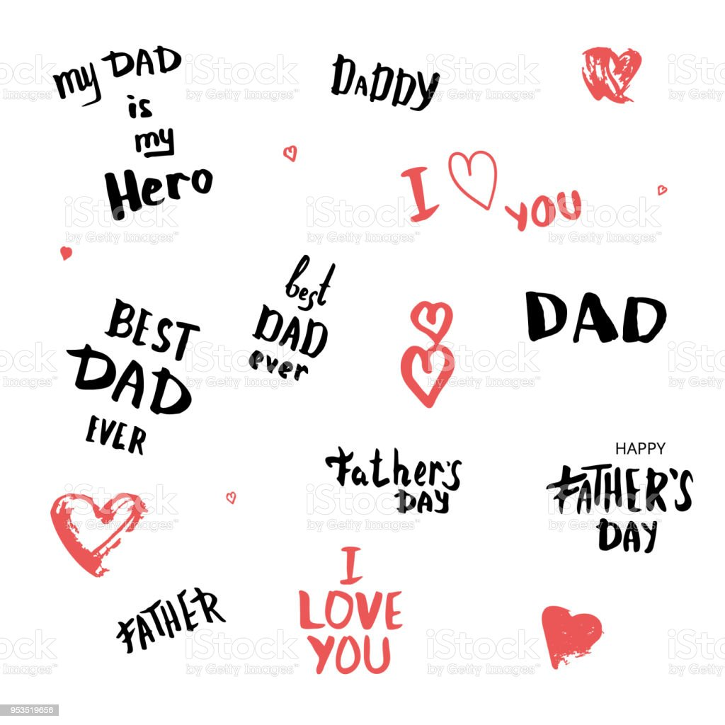 Set Of Happy Fathers Day Quotes Vector Illustration Stock