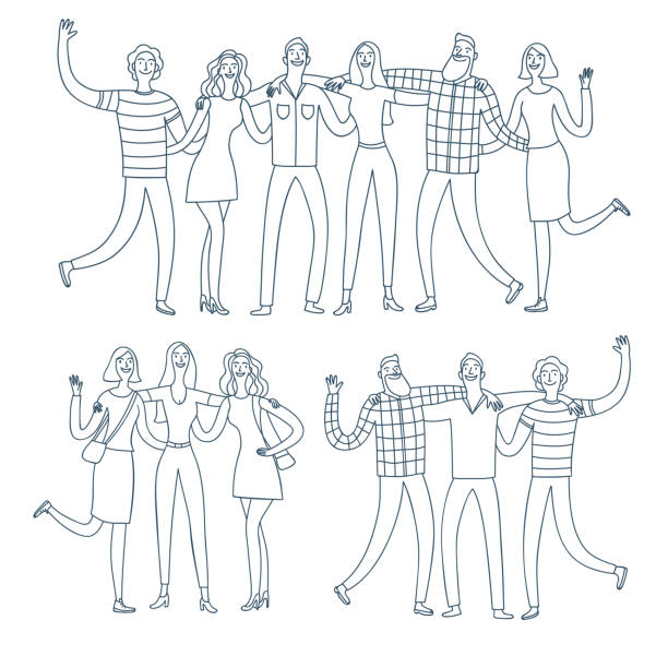 Set of happy friends groups hugging each other. Set of happy friends groups, boys and girls, hugging each other. Cartoon doodle illustration for your design. community drawings stock illustrations