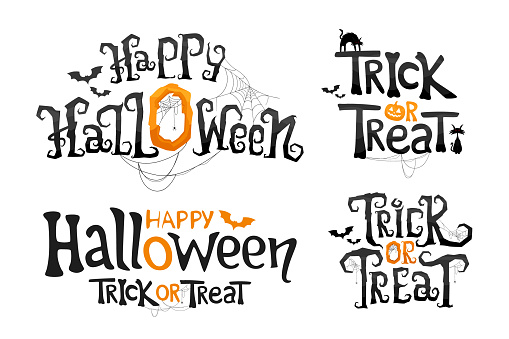 Set of Happy Halloween and Trick or Treat lettering. Stylized vector text.