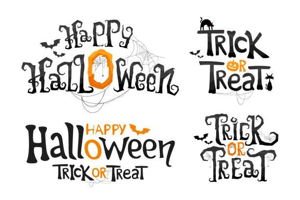 illustrazioni stock, clip art, cartoni animati e icone di tendenza di set di happy halloween e dolcetto o scherzetto. testo vettoriale stilizzato. - halloween