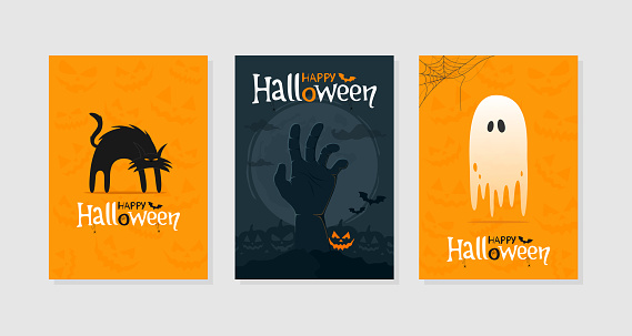 Set of Happy Halloween greeting cards or poster. Spooky black cat, zombie hand, ghost, traditional symbols.