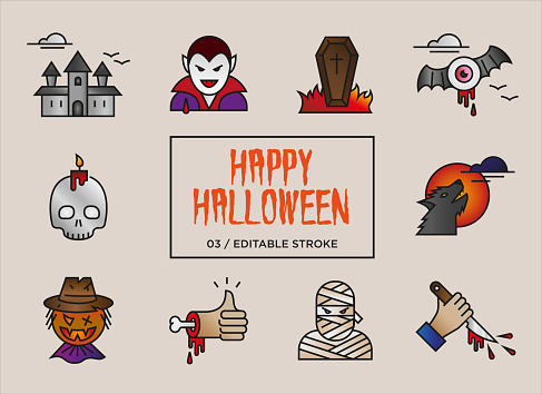 Set of Happy Halloween icons in color