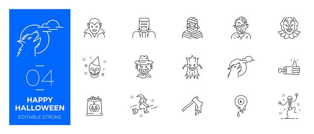 Set of Happy Halloween line icons - Modern icons