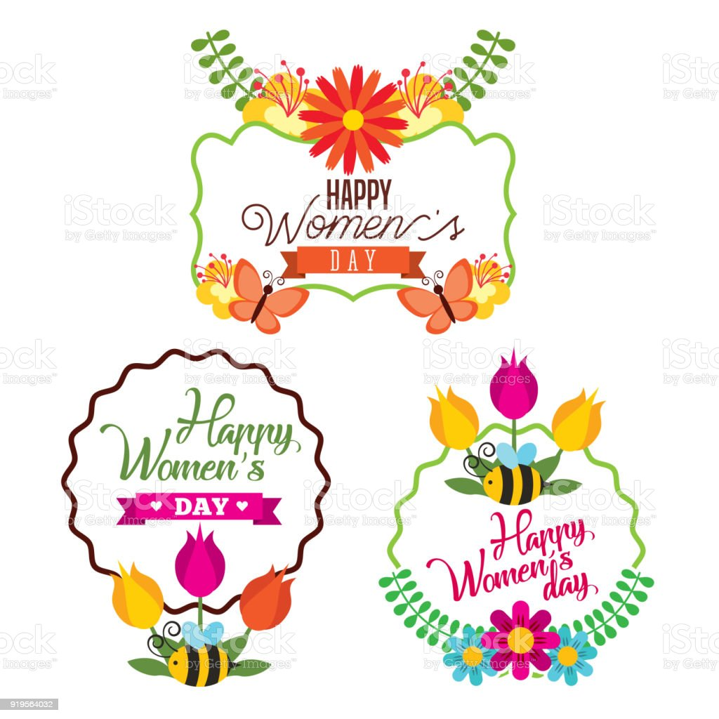 Set Of Happy International Woman Day Signs stock vector art ...