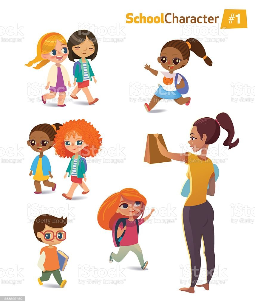 Set of happy joyful cartoon kids in motion and woman vector art illustration