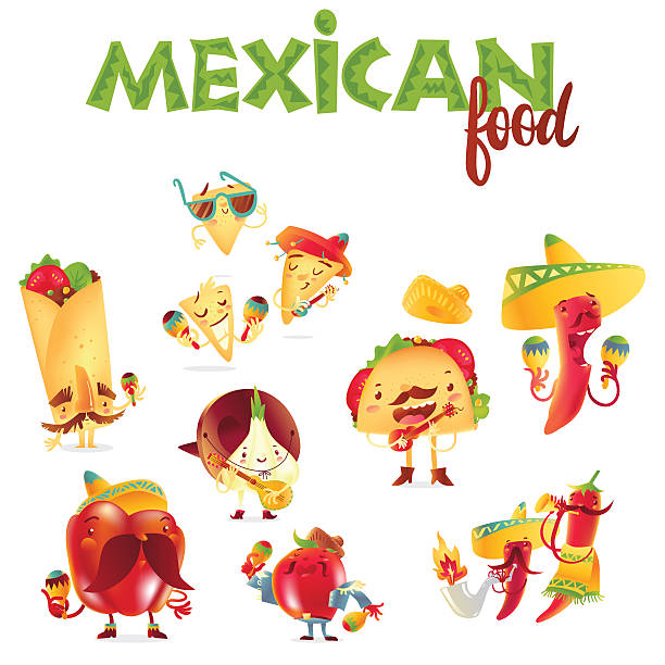 Set of happy Mexican food characters playing musical instruments - ilustración de arte vectorial