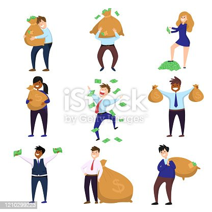 istock Set of happy millionaire characters enjoying money and wealth isolated on white background 1210299223