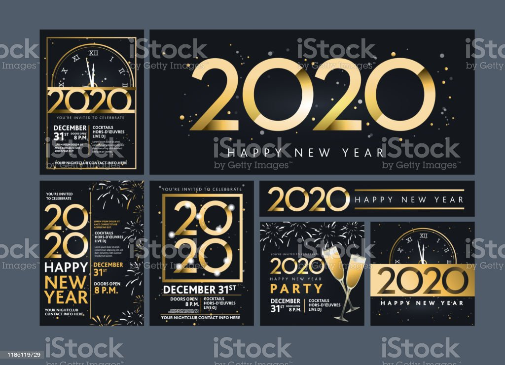 Set of Happy New Year 2020 party invitation design templates in metallic gold with glitter - Royalty-free 2020 arte vetorial