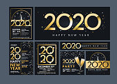 Vector illustration of a Set of Happy New Year 2020 party invitation design templates in metallic gold with glitter. Easy to edit with layers. Golden metallic on dark blue black background.