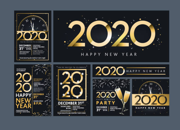 Set of Happy New Year 2020 party invitation design templates in metallic gold with glitter Vector illustration of a Set of Happy New Year 2020 party invitation design templates in metallic gold with glitter. Easy to edit with layers. Golden metallic on dark blue black background. 2020 stock illustrations