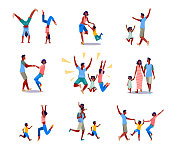 Set of happy parents and kids having fun together. Flat vector illustrations of family spending leisure time. Family and parenting activities concept for banner, website design or landing web page