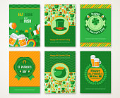 Set Of Happy St. Patrick's Day Greeting Card or Flyer. Vector illustration. Party Invitation Design with Emblem. Typographic Template. Patrick Day Menu Cover Design. Eat, Drink and be Irish.