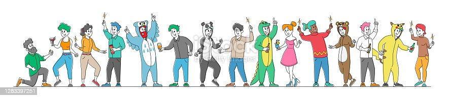 istock Set of Happy People in Funny Costumes Friendship, Celebration and Pajama Party Rejoice Isolated on White Background 1283397251