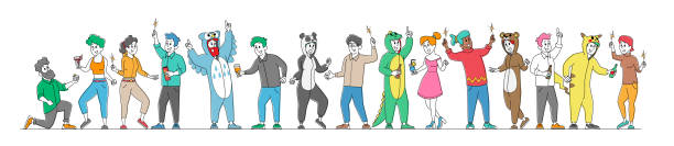 Set of Happy People in Funny Costumes Friendship, Celebration and Pajama Party Rejoice Isolated on White Background Set of Happy People in Funny Costumes Friendship, Celebration and Pajama Party Concept. Cheerful Friends Characters Rejoice, Corporate Booze Isolated on White Background. Linear Vector Illustration active lifestyle stock illustrations