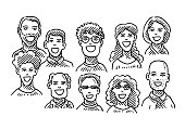 Set Of Happy People Portraits Drawing