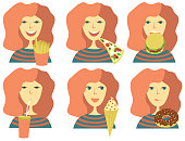 set of happy smile girl eating fast food. Flat vector illustration on white isolated background.