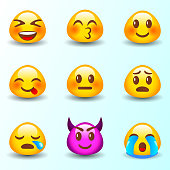 Set of happy, smile, laughing, joyful, sad, angry and crying faces emoticons. 9 expressions emotions emoji. Vector collection.