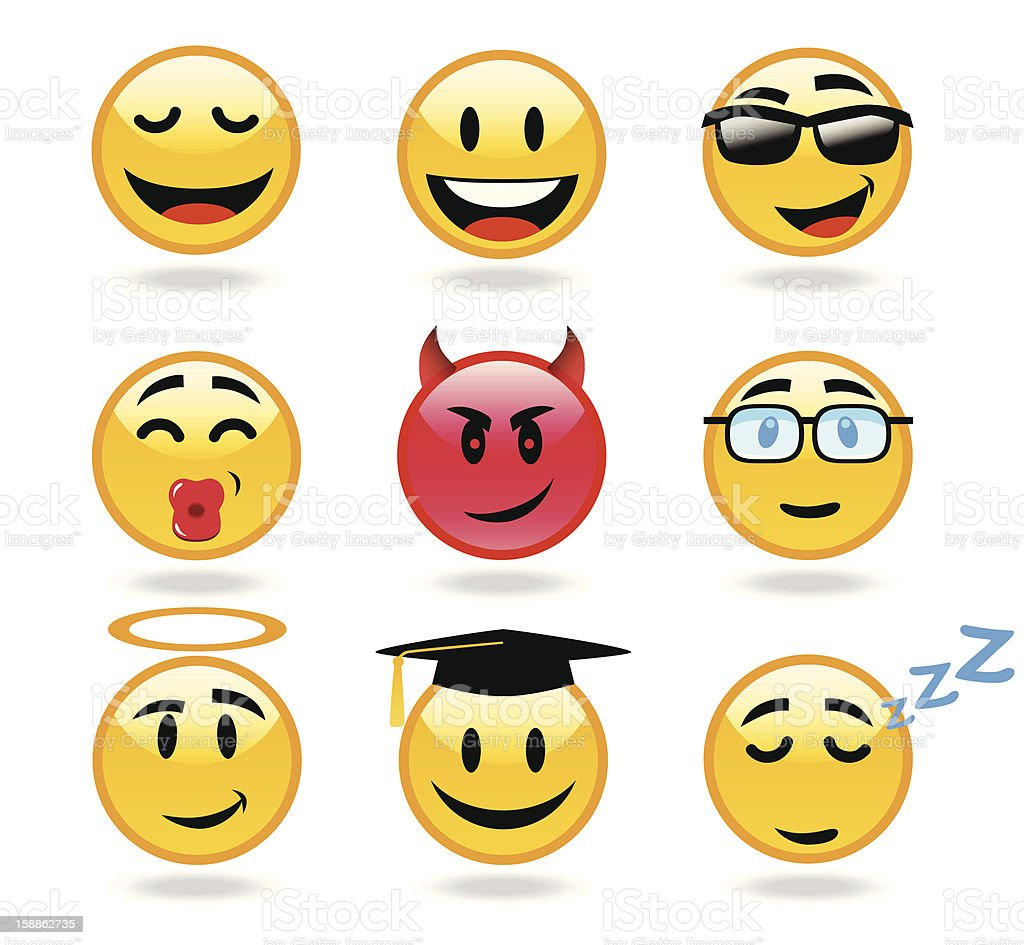 Set of happy smiley emoticons vector art illustration