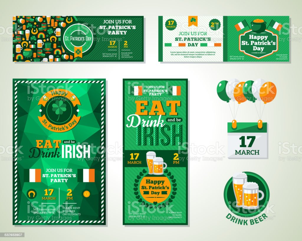 Set Of Happy St. Patrick's Day Greeting Card or Flyer. vector art illustration