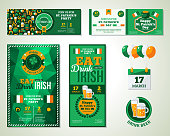 Set Of Happy St. Patrick's Day Greeting Card or Flyer.