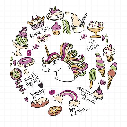 Set of happy sugar sweet treats with unicorn