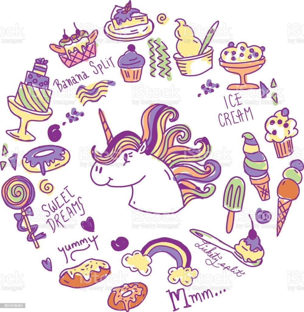 Set of happy sugar sweet treats with unicorn vector art illustration