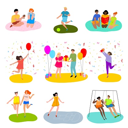 Set of happy teenagers celebrating a birthday party and playing various kinds of outdoor games. Vector illustration in flat cartoon style