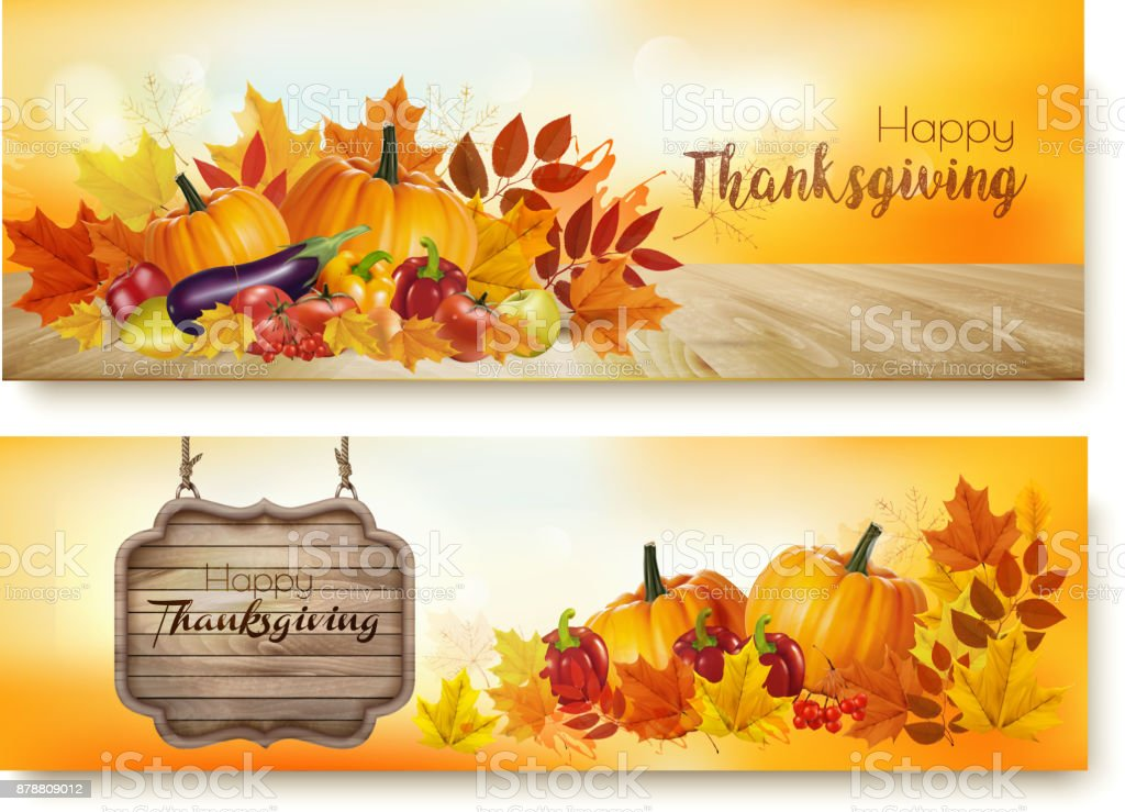 Set of Happy Thanksgiving banners with autumn vegetables vector art illustration