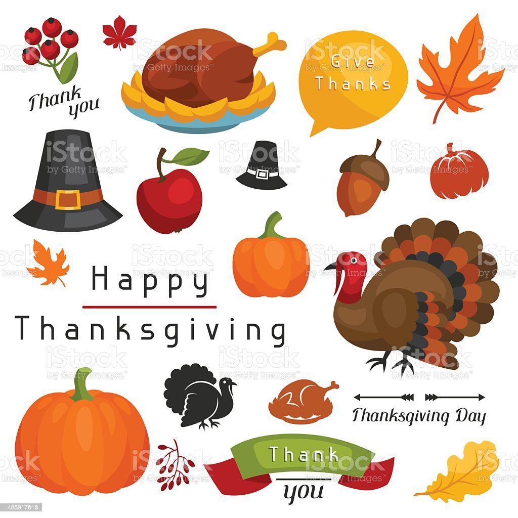Set of Happy Thanksgiving Day holiday objects and icons vector art illustration