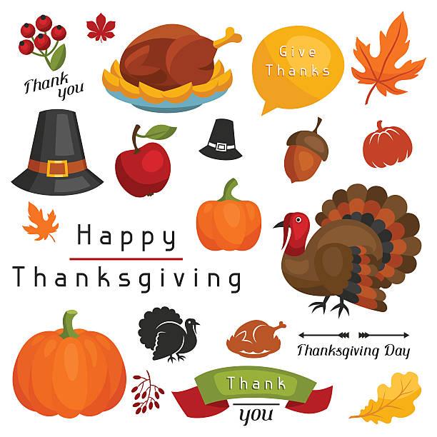 набор счастливый день благодарения праздник объектов и значки - thanksgiving turkey stock illustrations