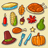 Set of Happy Thanksgiving Day holiday objects and icons.