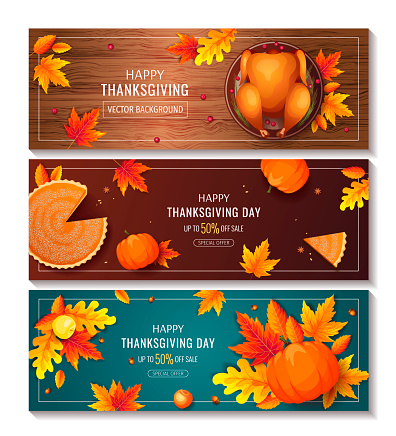 Set of Happy Thanksgiving Day promo sale flyers or backgrounds. Baked turkey, Pumpkin pie, autumn leaves.